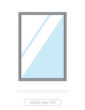 Silver mirror with reflection at the wall illustration.