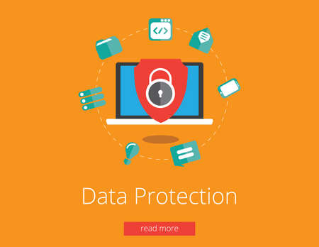 Data protection and safe work. Flat design vector Zdjęcie Seryjne - 43804088