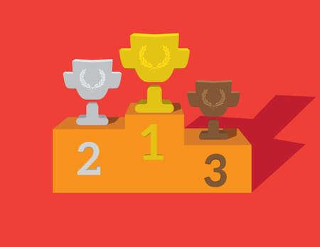 triunfador: Oro, Plata y Bronce Trofeo de la Copa en el premio podio. Vectores