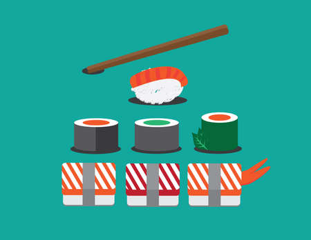 Sushi set. Soy sauce and sushi roll.