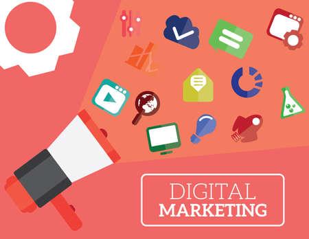 Digital marketing flat illustration of speaker and icons