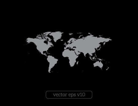 vector World map on black background