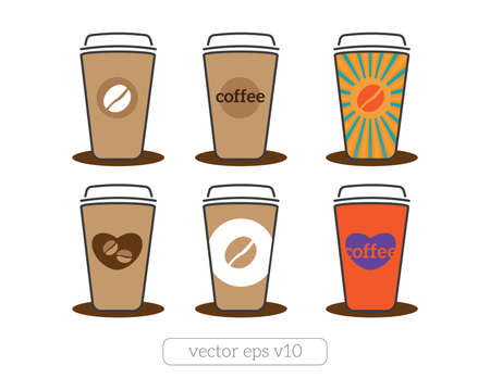 coffee cups icons with coffee beans