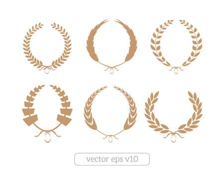 Gold Laurel Wreaths Vector Collection