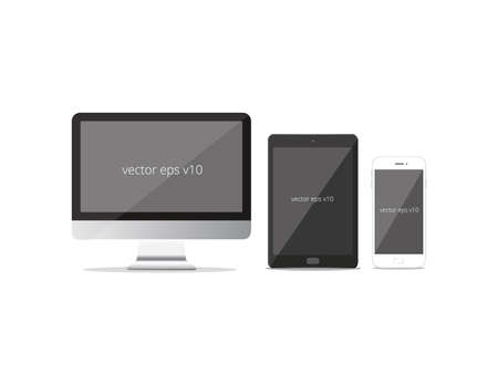 Vector set of Modern Digital devices smart phone, tablet and monitor Illusztráció