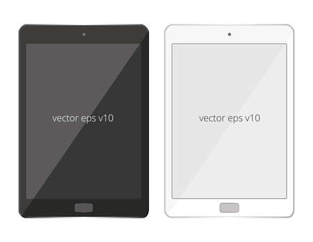 Tablet pad black white vector mobile isolated, realistic illustration