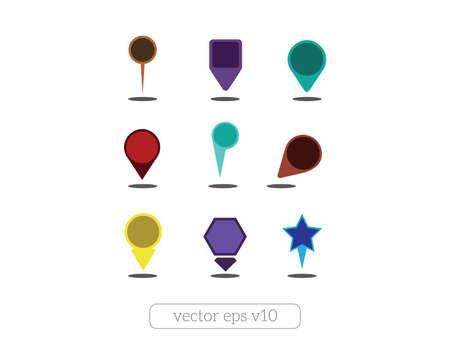 Colorful map pins set vector