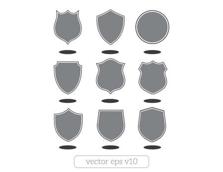 article marketing: Set of different shapes shield icons