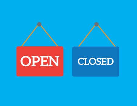 door sign: Vector open closed door sign