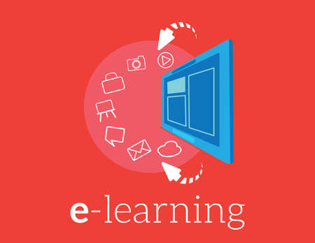 E-learning concept. tablet and education icons. Vector.