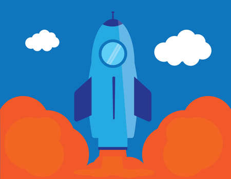 Flat rocket startup icon illustration