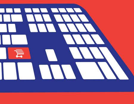 online winkelen of internet winkel concepten, met het winkelwagentje symbool. Vector plat ontwerp Stock Illustratie