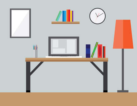 stylus: Flat Style Modern Design Concept of the Creative Office Workspace.