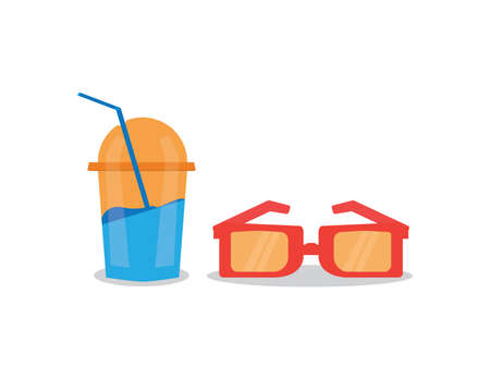 cold drink and glasses icon summer set vector