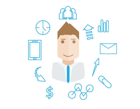 amplify: businessman avatar and icons business work concept