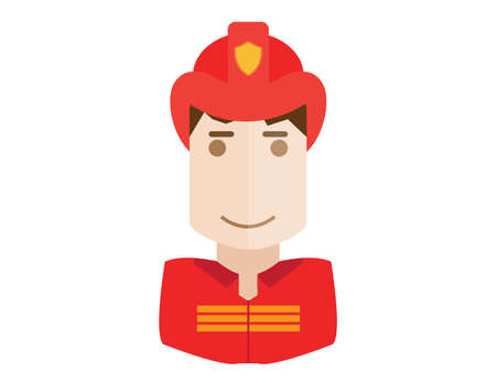 Fireman: Firefighter, fireman icon. Avatar and person illustration. Flat outlined colored styles.