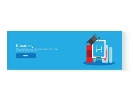 computer education: Concept for web banner template. Flat design concepts for e-learning