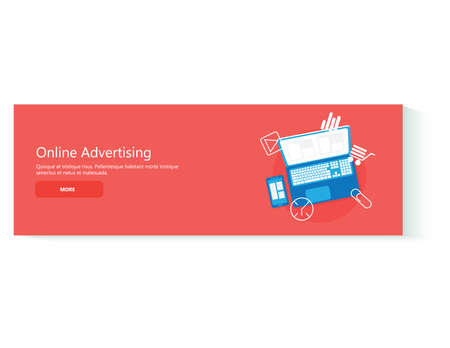 online advertising: Flat design concept for Online Advertising. Concept for web banner