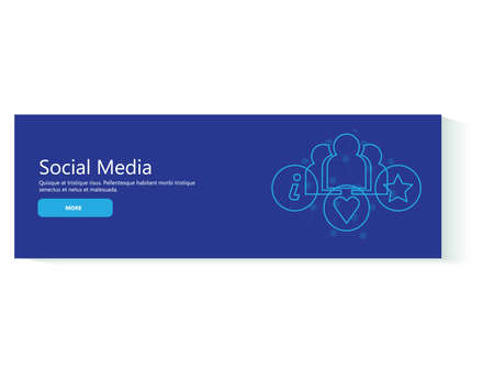 Banner social media in flat design. Businesses, people and marketing icons.