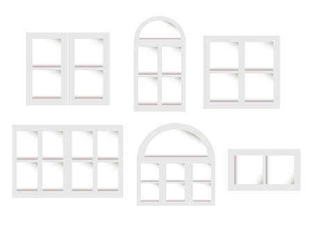 casement: Vector collection of various types windows. For interior and exterior use. Flat styles. Illustration