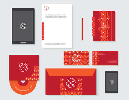 Drawing corporate identity Business stationery template design Illustration