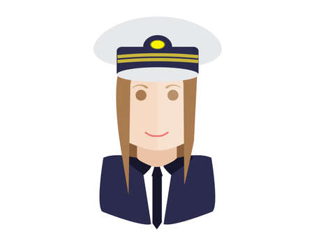 cabin attendant: Vector illustration pilot aviation pilot