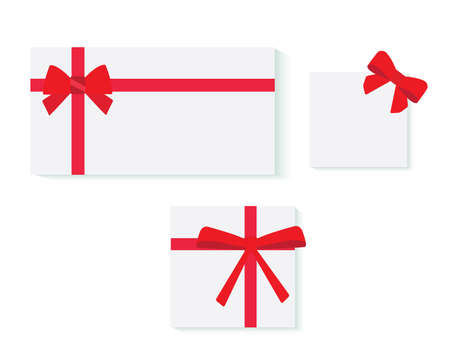 gift tag: Set of card notes with red gift bows with ribbons Vector