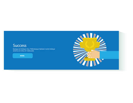 Success banner with business process and success elements isolated vector illustration