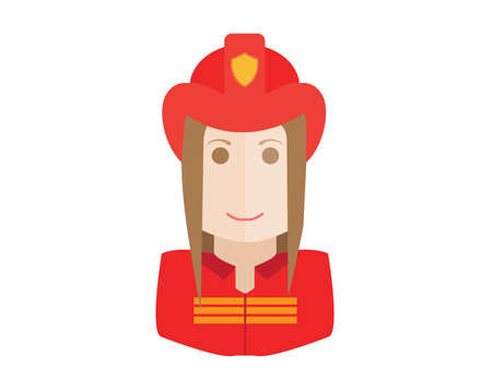Fireman: Firefighter, fireman icon. Avatar and person illustration. Flat outlined colored styles Illustration