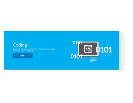 kódování: plochý design koncept pro kódování, vývoj web banner. Programátor nebo kodér workflow pro webové stránky kódování Ilustrace