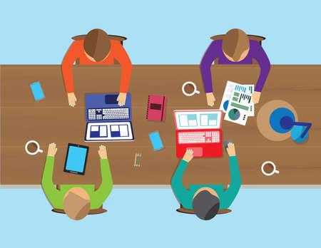 espacio de trabajo: Dise�o plano creativo espacio de trabajo de oficina. Modelo del vector
