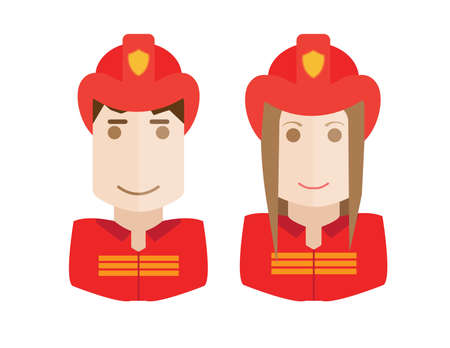 mana: Illustration of the firemen on a white background avatars set womand and man