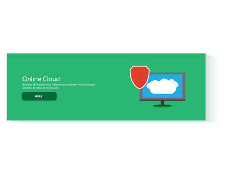 storage device: Modern flat design concept banner power of secure cloud services phone tablet computer device. Vector web banner template illustration