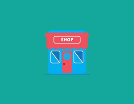 shop and store icon vector illustration flat styles