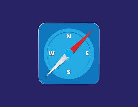 Vector compass icon flat illustration