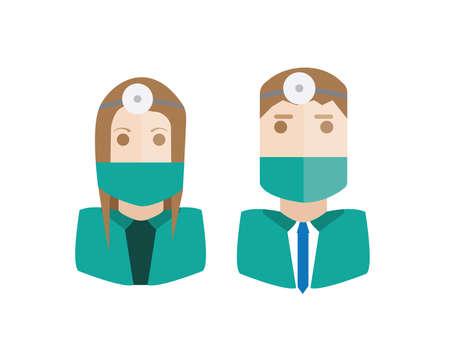set of avatars or characters doctor, suregon Illustration