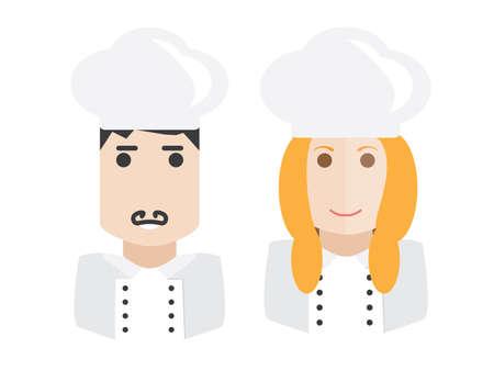 female chef: Set of male and female chef