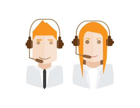 telemarketer: Female and male avatar of telemarketer