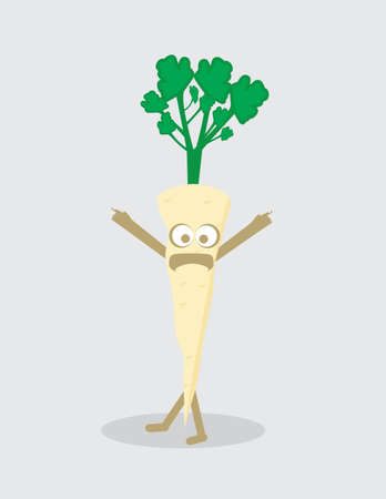 Cartoon Illustration of Parsley Root Vegetable Food