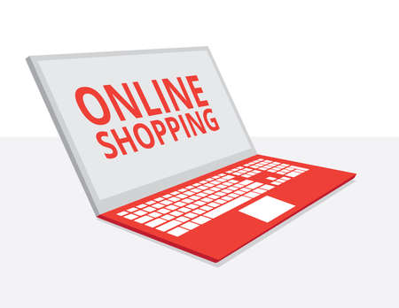 online shopping: Online shopping concept desktop with laptop flat design Illustration