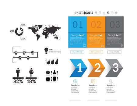 business sign: Minimal infographics. Vector Set