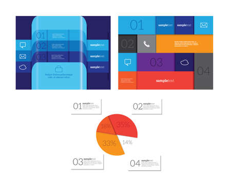 Infographics set Vector illustration. can be used for workflow layout banner diagram number options, step-up options, web design Çizim