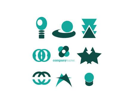 elements set green Illustration
