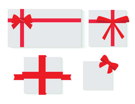 red  ribbon: Set of card notes with red gift bows with ribbons Vector