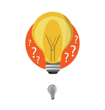 Light bulb idea vector icon, flat design, vector illustration