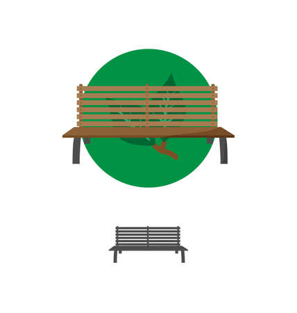 timber bench seat: Outdoor Bench Icon Vector Illusrtarion Eps10