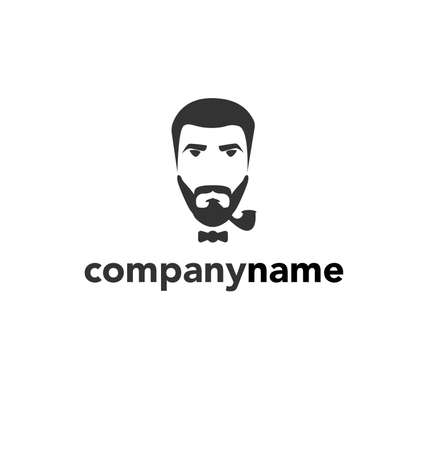 stylish hair: man with a beard and mustache logo template Illustration