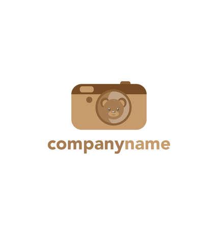 simple logo: Kids logo Flat logo, emblem, logotype. Camera Teddy Bear Cute Brown Bear in simple flat style