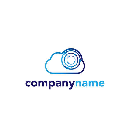 global communication: cloud technology vector logo design template cloud protection