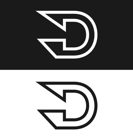 letter D icon design template Black and white version